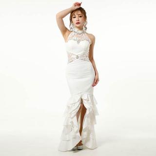 デイジーストア(dazzy store)のオーガンジーレースホルダーネックマーメイドフリルロングドレス(ナイトドレス)