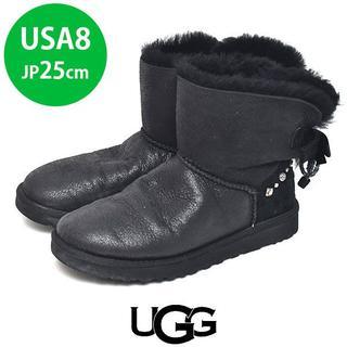 アグ(UGG)のアグ バックリボン ビジュ ムートンブーツ USA8(JP25cm)6700→(ブーツ)
