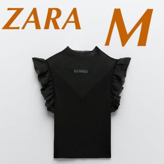 ザラ(ZARA)の【9/23まで限定出品】ZARA フリル付きニットトップス シアーニットトップス(シャツ/ブラウス(半袖/袖なし))