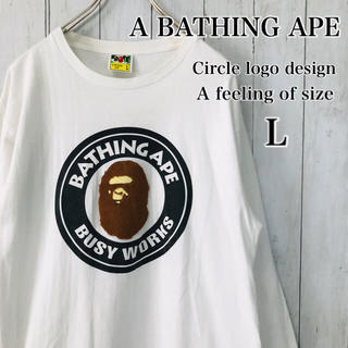 アベイシングエイプ(A BATHING APE)の☆激レア☆エイプ Tシャツ 白 ビッグロゴ 長袖 ロンT L(Tシャツ/カットソー(七分/長袖))