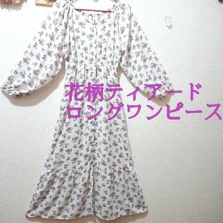 アベイル(Avail)の美品 花柄 ティアード ロング ワンピース♥️GRL GU(ロングワンピース/マキシワンピース)