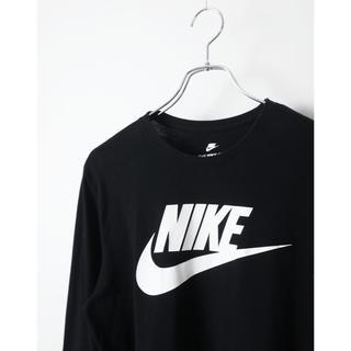 ナイキ(NIKE)のNIKE ナイキ スウォッシユロゴプリント ロンT 長袖 ブラック L リブ付き(Tシャツ/カットソー(七分/長袖))