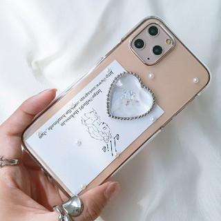 クリアハートiPhoneケース ハンドメイド 韓国(スマホケース)