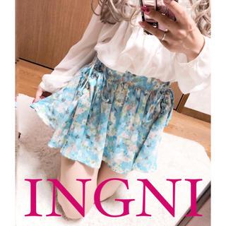 イング(INGNI)の2481.INGNI シフォン 花柄 キュロット レースアップ(キュロット)