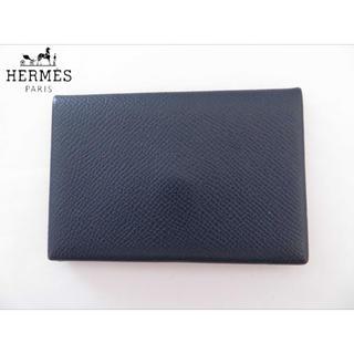 エルメス(Hermes)のエルメス カルヴィ  カードケース パスケース 紺 名刺入れ メンズ レディース(名刺入れ/定期入れ)