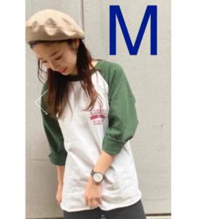 ロデオクラウンズワイドボウル(RODEO CROWNS WIDE BOWL)のロデオクラウンズ LAUREL STラグランルーズトップス ダークグリーン M(Tシャツ/カットソー(半袖/袖なし))