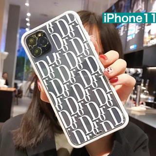 アズールバイマウジー(AZUL by moussy)のiPhone11  シンプル ロゴ  スマホケース モノトーン ソフトカバー(iPhoneケース)