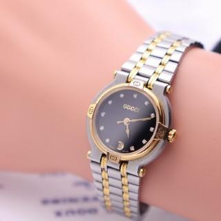 グッチ(Gucci)の正規品【新品電池】GUCCI 9000L/ダイヤ12P コンビ×ブラック 人気(腕時計)