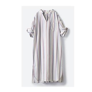 ハコ(haco!)のhaco! くしゅっと袖がかわいい!重ね着に便利な爽やかシャツワンピース(ひざ丈ワンピース)