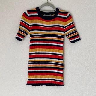 ローズバッド(ROSE BUD)のROSEBUD マルチボーダー リブニットTシャツ(Tシャツ(半袖/袖なし))