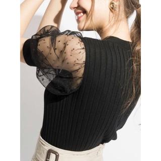 アンドクチュール(And Couture)の新品未使用 AndCouture ドットチュールパフ袖プルオーバー(カットソー(半袖/袖なし))