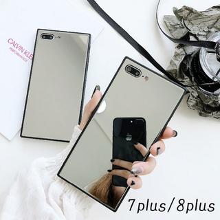 SALE!iPhone7plus 8plus スクエア型 カバー ミラー(iPhoneケース)