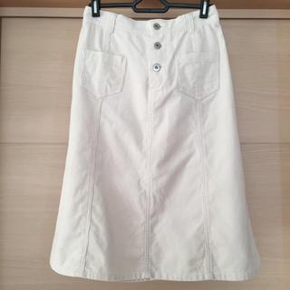 ドゥファミリー(DO!FAMILY)のドゥファミリィ コーデュロイスカート アイボリー(ひざ丈スカート)