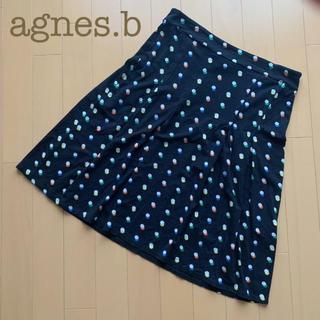 アニエスベー(agnes b.)のagnes.b(アニエスベー)ドットフレアスカート ブラック T2(ひざ丈スカート)