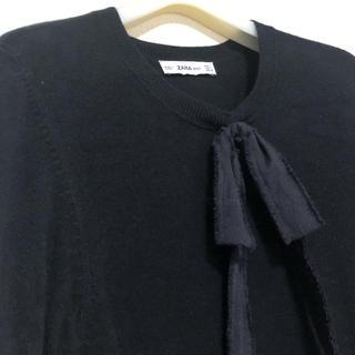 ザラ(ZARA)の美品 ZARA リボン付き 半袖ニット(ニット/セーター)