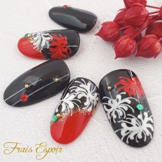 黒&赤の和柄ネイル   (和 成人式 和装 和柄 振袖 前撮り ブライダル 七五