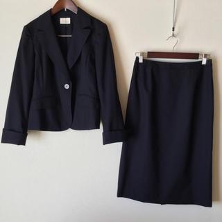 ハロッズ(Harrods)のハロッズ スカートスーツ 超美品 3 濃紺 日本製 OL 入学式 お受験 秋冬春(スーツ)