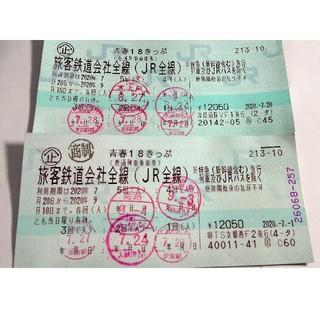 使用済み 2020年夏 青春18きっぷ 2枚(鉄道乗車券)