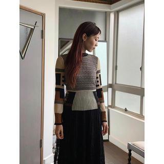 マメ(mame)のmame Mixed Knitted Fabric PeplumPullover(ニット/セーター)