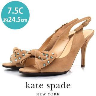 ケイトスペードニューヨーク(kate spade new york)の美品❤️ケイトスペードニューヨーク ビジュー リボン スエード サンダル 7.5(サンダル)