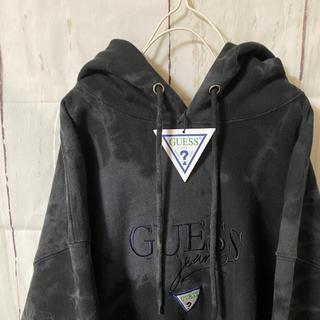 ゲス(GUESS)のguess ゲス パーカー jeans 黒 染め ビッグシルエット タグ付き(パーカー)