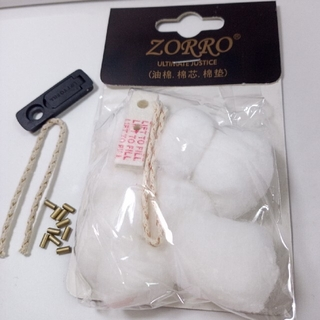 ジッポー(ZIPPO)のzippo等汎用 交換用コットン 黒ゴム1 ウィック1 石10(タバコグッズ)
