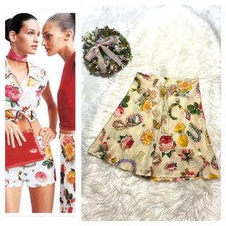 グッチ(Gucci)の本物 コレクションモデル グッチ フローラル インセクト スカート 40 マルチ(ひざ丈スカート)