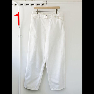 コモリ(COMOLI)の未使用 20aw サイズ 1 COMOLI デニム ベルテッド パンツ ホワイト(デニム/ジーンズ)