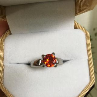 レディッシュオレンジ 人工石リング(リング(指輪))