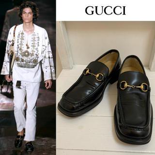Gucci - GUCCI VINTAGE ITALY製 ホースビットレザーローファー 39.5