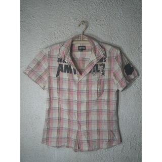 ピーピーエフエム(PPFM)のo1343 PPFM 半袖 チェック シャツ オープンカラー デザイン(シャツ)
