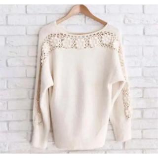 カワイイ(cawaii)の流れ咲く花コサージュのニットトップス 長袖セーター 柄編みニット 良品 F(ニット/セーター)
