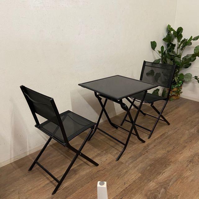 訳あり 折りたたみ式 ガーデンテーブル&チェアー 3点セット  インテリア/住まい/日用品の机/テーブル(アウトドアテーブル)の商品写真