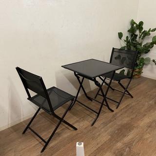 訳あり 折りたたみ式 ガーデンテーブル&チェアー 3点セット