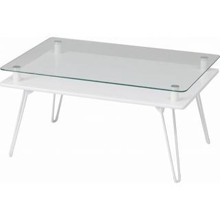 折りたたみ式!省スペース ガラス天板テーブル(ローテーブル)