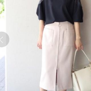 ノーブル(Noble)の美品☆2019SS Noble ダブルクロス フープジップタイトスカート☆白(ロングスカート)