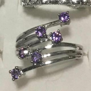 レディース アクセサリーリング 綺麗なパープルダイヤモンドリング(リング(指輪))