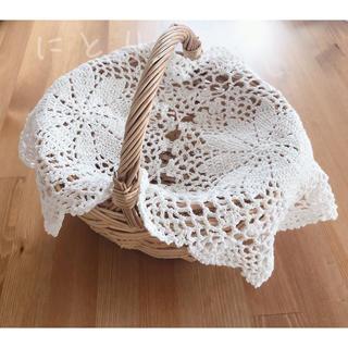 マルチカバー レース編み フランスアンティーク かぎ針 敷物 ドイリー 編み物(テーブル用品)