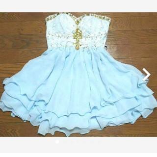 デイジーストア(dazzy store)のキャバドレス 水色 ライトブルー(ミニドレス)