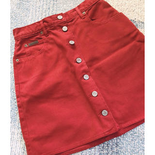 カルバンクライン(Calvin Klein)のカルバンクライン  ジーンズスカート  レッド(ひざ丈スカート)