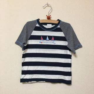 コンビミニ(Combi mini)のコンビミニ★紺白マリンボーダーTシャツ(100) 本体綿100% ヨット柄(Tシャツ/カットソー)