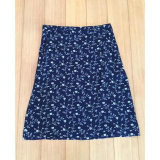 アニエスベー(agnes b.)の美品☆アニエスベー  agnes.b 花柄 スカート 濃紺 サイズ1(ひざ丈スカート)