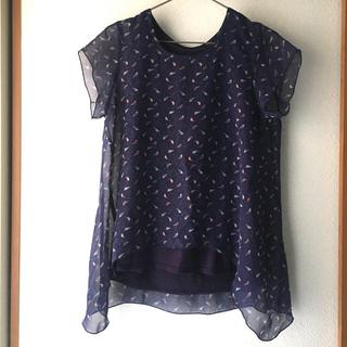 フェリシモ(FELISSIMO)の鳥柄 半袖 夏服 シースルー(シャツ/ブラウス(半袖/袖なし))