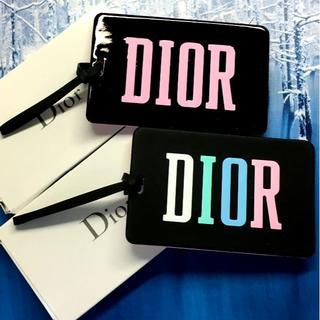 Dior - Dior ロゴ入り 持ち手付 ミニミラー セット 黒 バッグ チャーム エナメル