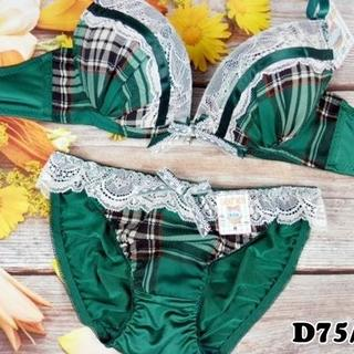 SE88★D75 M★美胸ブラ ショーツ Wパッド タータンチェック 緑(ブラ&ショーツセット)