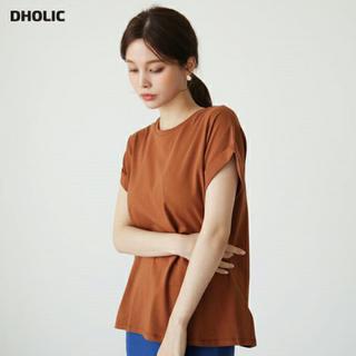 ディーホリック(dholic)のロールアップスリーブTシャツ ブラウン カットソー(Tシャツ/カットソー(半袖/袖なし))