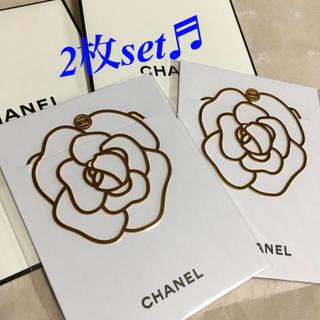 シャネル(CHANEL)の2枚/CHANEL ノベルティ✿॰ॱカメリア型 ブックマーク(しおり/ステッカー)