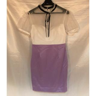 1点◆新品◆上質◆袖付きシアーミニドレス◆ベルト付き(ミニドレス)