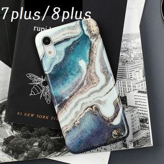 大人気! iPhone7plus 8plus ケース カバー マーブル プリント(iPhoneケース)