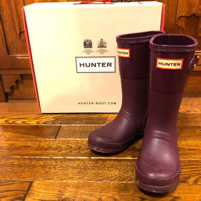HUNTER(ハンター)のハンター レインブーツ キッズ UK11 日本サイズ約17㎝ 紫 男女兼用‼️ キッズ/ベビー/マタニティのキッズ靴/シューズ(15cm~)(長靴/レインシューズ)の商品写真